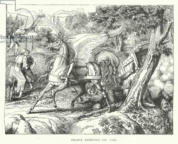 Pegasus overturns the cart (engraving)