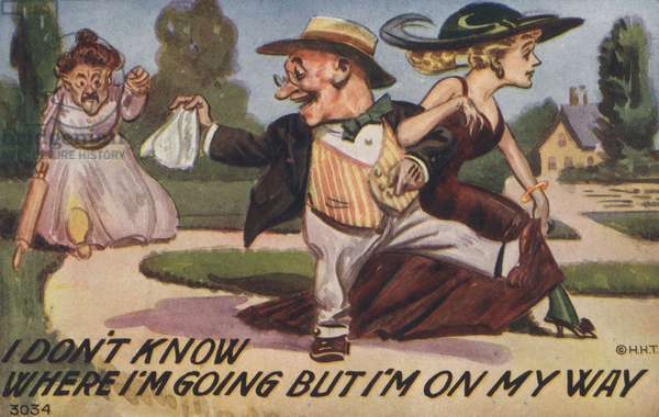 Man leaving his wife with his mistress (colour litho)