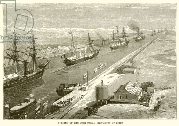 Opening of the Suez Canal--Procession of Ships (engraving)