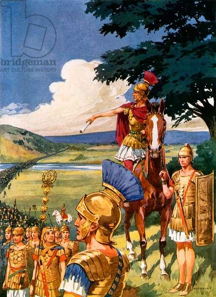 Julius Caesar crosses the Rubicon (colour litho)