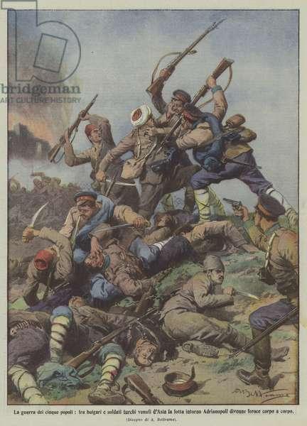 La guerra dei cinque popoli, fra bulgari e soldati turchi venuti d'Asia la lotta intorno … (colour litho)
