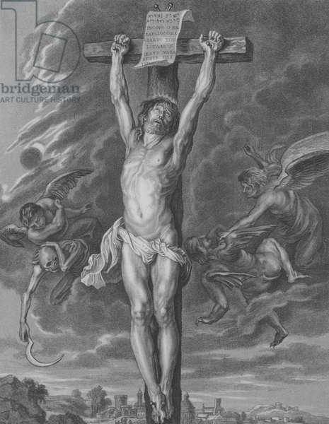 The Crucifixion, St Matthew 27, Verse 30-54 (engraving)