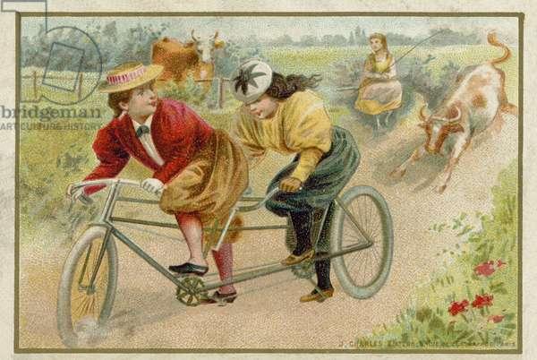 Women riding a tandem (chromolitho)