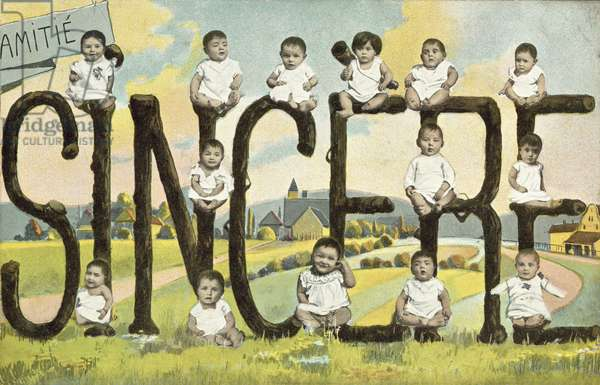 Greetings card with babies (colour photo)