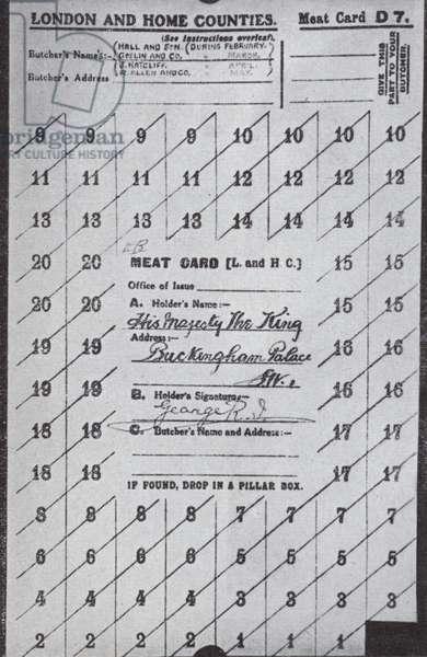 Meat ration card belonging to King George V, World War I, 1917 (b/w photo)