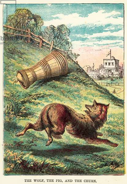 The wolf, the pig, and the churn (coloured engraving)