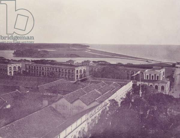 Galle Face and Barracks, Colombo, Ceylon (b/w photo)