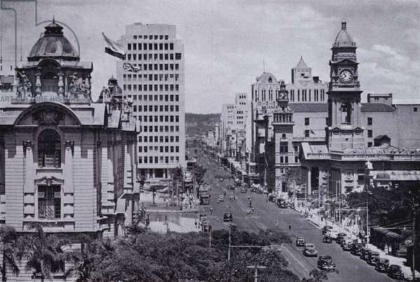 West Street Central, Showing Post Office and Town Hall (b/w photo)