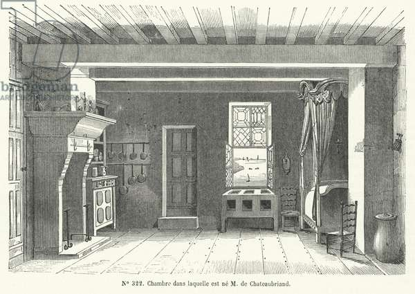Room in the Hotel de France at St Malo, Brittany, in which French writer and politician Francois-Rene de Chateaubriand was born (engraving)