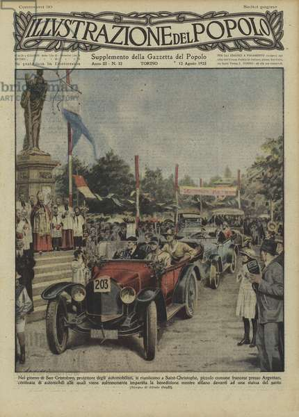 Car rally on the day of St Christopher, patron saint of motorists, at Saint-Cristophe, near Argentan, France (colour litho)