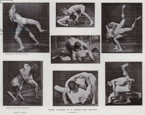 The Human Figure in Motion: Some phases in a wrestling match (b/w photo)
