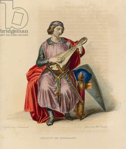 Thibaut de Champagne (coloured engraving)
