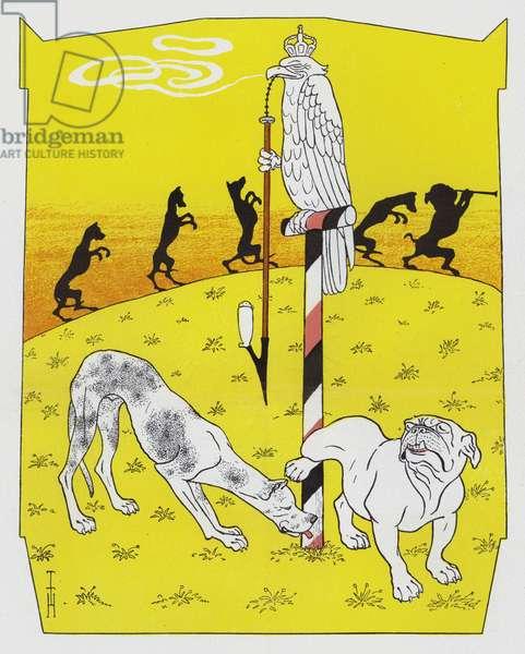 German Mastiff and English Bulldog (colour litho)