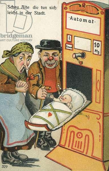 Newborn baby emerging from a vending machine (chromolitho)