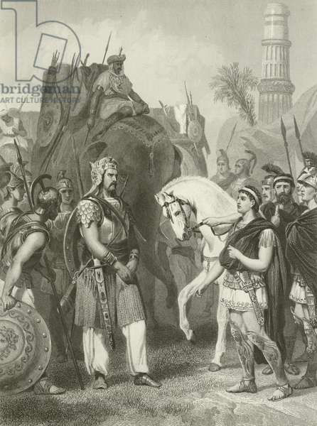 Surrender of Porus to the Emperor Alexander, 326 BC (engraving)
