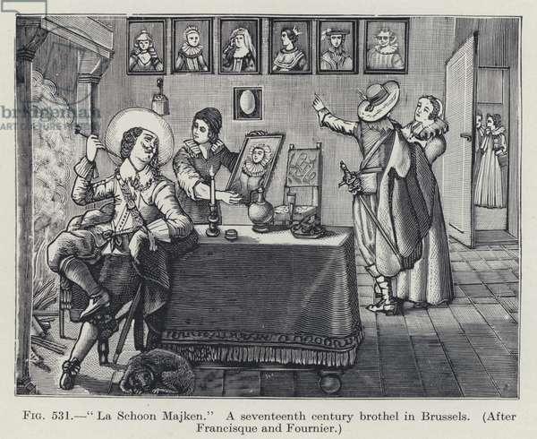 """La Schoon Majken,"" A seventeenth century brothel in Brussels (litho)"