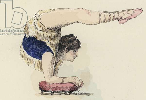 Female gymnast doing elbow stand (colour litho)