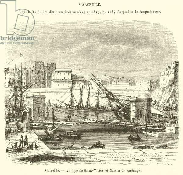 Marseille, Abbaye de Saint-Victor et Bassin de carenage (engraving)