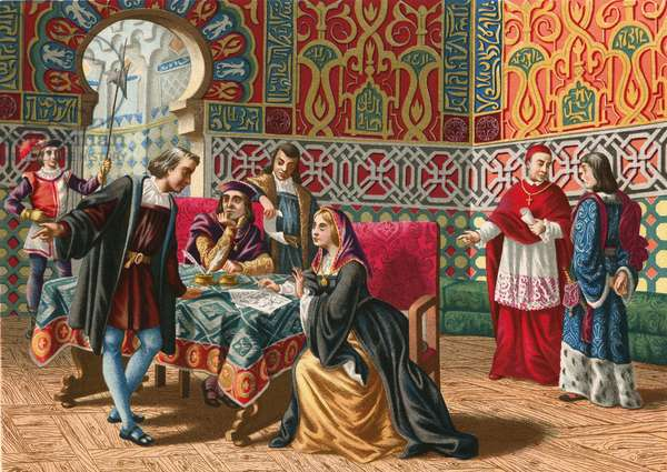 Meeting between Columbus and Ferdinand and Isabel before the voyage of discovery