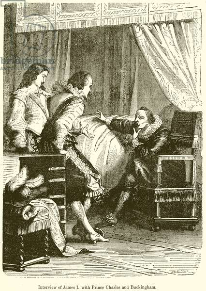 Interview of James I. with Prince Charles and Buckingham (engraving)