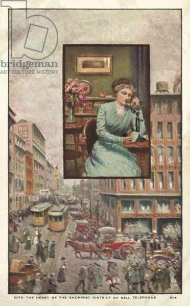 Women telephoning a shop (colour litho)