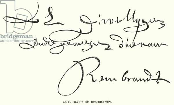 Autograph of Rembrandt (engraving)