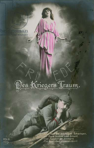 The Soldier's Dream of Peace, 1913 (hand-coloured photo)