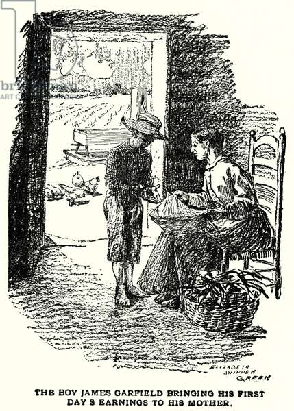 The boy James Garfield bringing his first day's earnings to his mother (litho)