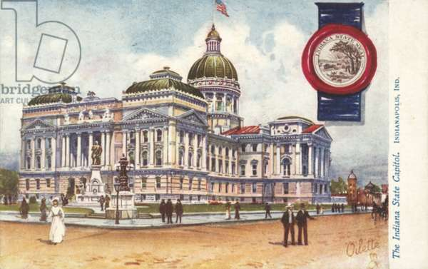 The Indiana State Capitol, Indianapolis, Indiana (colour litho)