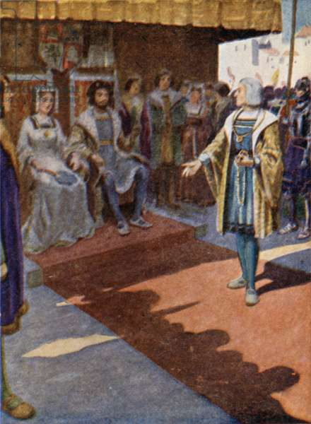 King Ferdinand and Queen Isabella receiving Columbus (colour litho)