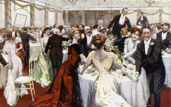 Auld Lang Syne, New Year's Eve, The Savoy Hotel (colour litho)