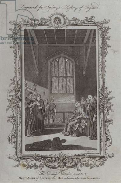 The Death Warrant read to Mary Queen of Scots in the Hall wherein she was Beheaded (engraving)