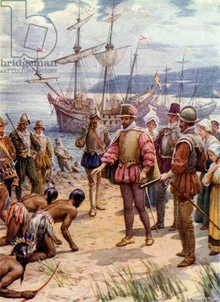 Sir Walter Raleigh, landing in Virginia (colour litho)