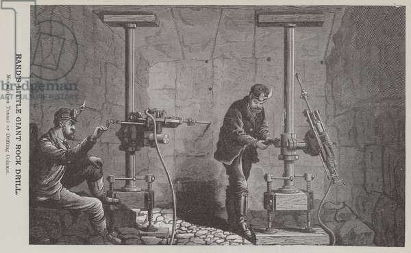 Rand's Little Giant Rock Drill, Mounted on Tunnel or Drifting Column (engraving)