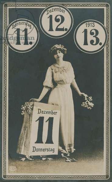 11/12/13, postcard for 11 December 1913.  Postcard sent on 11 December 1913.