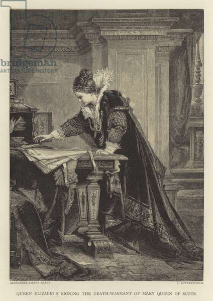Queen Elizabeth signing the death-warrant of Mary Queen of Scots (engraving)