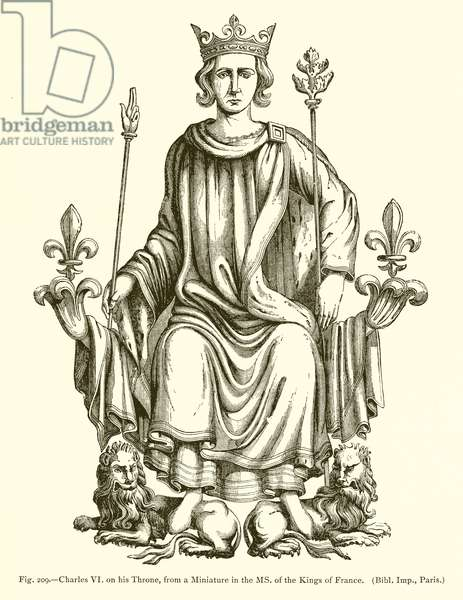 Charles VI on his Throne, from a Miniature in the MS. of the Kings of France (engraving)