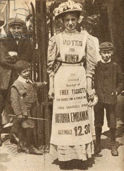 The Suffragette Housemaid, advertising a demonstration for votes for women on Victoria Embankment in London, 1908 (b/w photo)