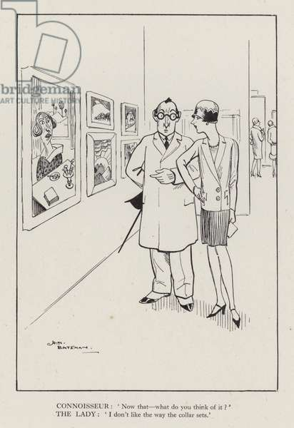 Woman and art connoisseur in a gallery (litho)