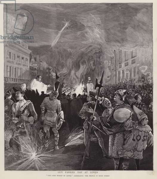 Guy Fawkes Day procession in Lewes, Sussex, 5 November 1892 (litho)