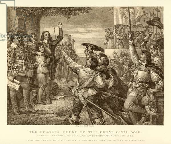 The opening scene of the Great Civil War (engraving)