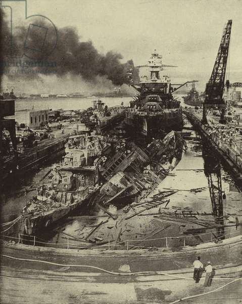 American destroyers USS Downes and USS Cassin and the battleship USS Pennsylvania damaged in the Japanese attack on Pearl Harbour, Hawaii, on 7 December 1941, World War II (b/w photo)