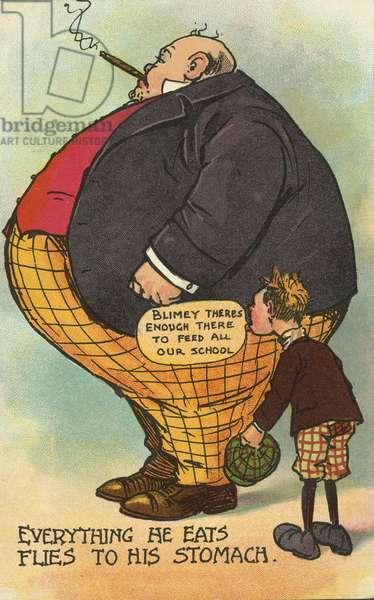 Obesity: a boy amazed at the size of a fat man's stomach (chromolitho)