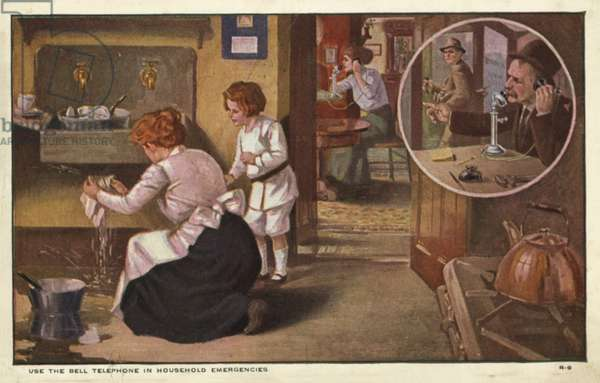 Woman telephoning a plumber (colour litho)
