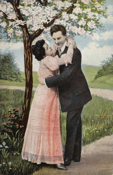 Couple embracing under a blossom tree (chromolitho)
