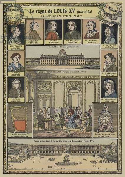 Philosophy, literature and art during the reign of Louis XV of France, 1715-1774 (colour litho)