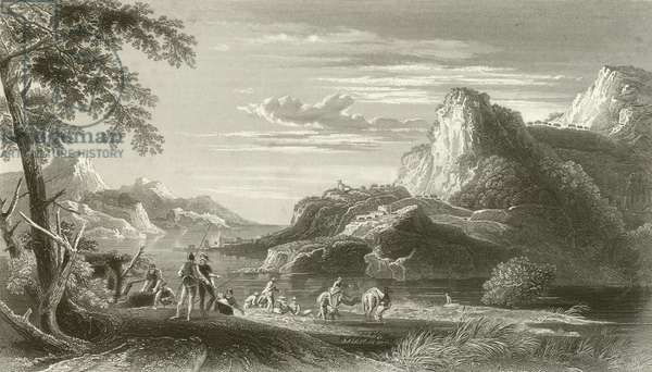 Scene on the Mediterranean, (Time of the Crusades) (engraving)