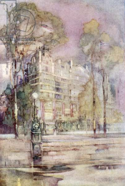 An impressionist view of the River Front of the Savoy Hotel (colour litho)