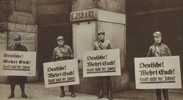 Nazis picketing a Jewish-owned shop in Germany, 1933 (b/w photo)