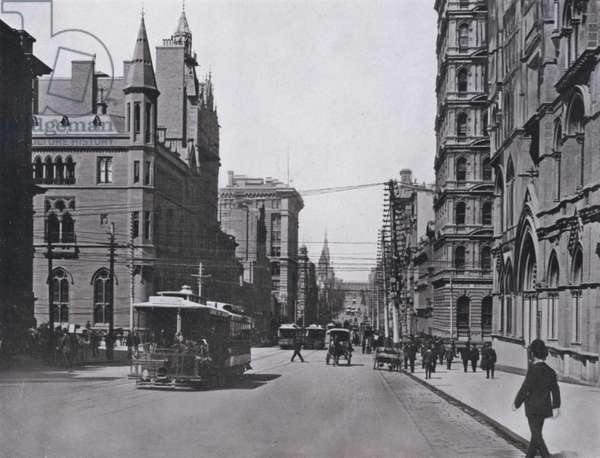 Collins Street West, Melbourne, looking East (b/w photo)